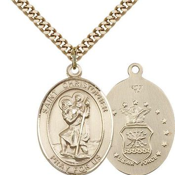 14K Gold Filled St Christopher Air Force Military Catholic Medal Necklace 617759453775