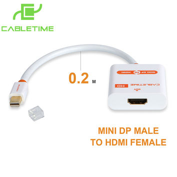 Cabletime Mini DP Thunderbolt to HDMI Cable M/F Mini DisplayPort to HDMI Adapter for MacBook Pro Air iMac 1080p projector N020