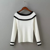 Block Linen Long-Sleeve Knitted Shirt