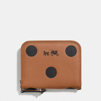 Zip Around Coin Case in Saddle Dot Leather