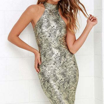 Palmetto Gold Print Bodycon Midi Dress