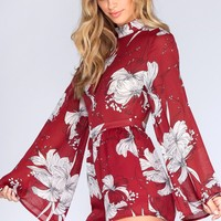 Take Me Back Romper - Burgundy