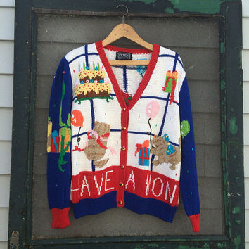 Vintage 80's AMAZING Vintage Happy Birthday Theme Berek Hand knit RARE Sweater Size Medium M