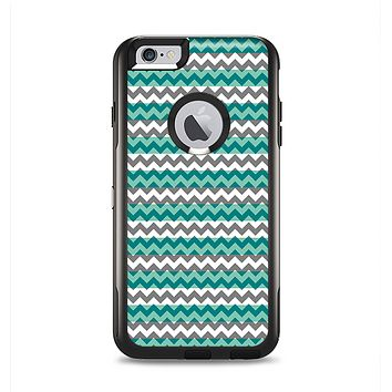 The Vintage Green & White Chevron Pattern V4 Apple iPhone 6 Plus Otterbox Commuter Case Skin Set