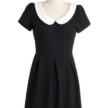 ModCloth Vintage Inspired Short Length Short Sleeves A-line Record Time Dress