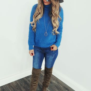 Fill My Days With Joy Sweater: Cobalt
