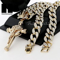 "Men 14k Plated Jesus Cross Crucifix Pendant 30"" Iced Out Cuban Link Chain NN033G"