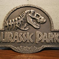 Silver Jurassic Park Plaque - Resin Replica Art Decor Collectible Dino Dinosaur Gift!