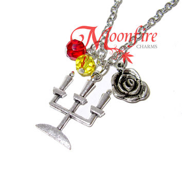 BEAUTY AND THE BEAST Candelabra Rose Pendant Necklace