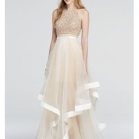 Two Piece Beaded Prom Crop Top and Illusion Skirt - Davids Bridal