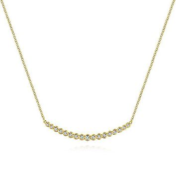 14K Yellow Gold Bezel Set 1/4cttw Diamond Bar Necklace