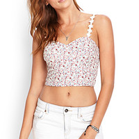 FOREVER 21 Cropped Floral Bustier Top Cream/Wine