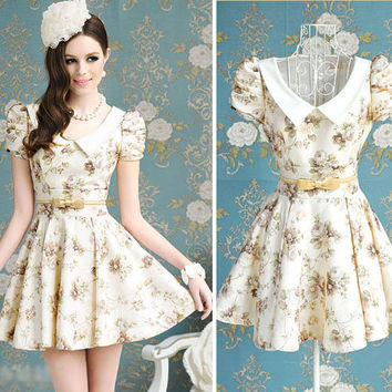 Korean Style Printed Bowknot Slim Dress Bubble short sleeve Mini Dress Party