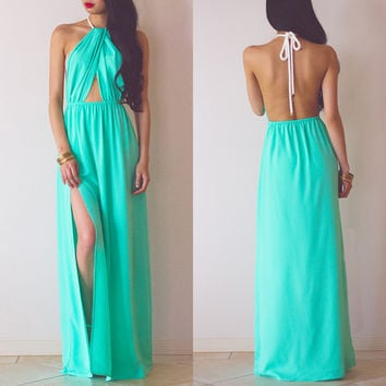 Halter Backless Cutout High Waist A-Line Maxi Slit Dress