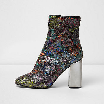 Black sequin contrast heel ankle boots - boots - shoes / boots - women