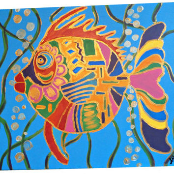 Fish Canvas Painting 24 x30 Abstract Fish (Ocean, Beach, Sea)