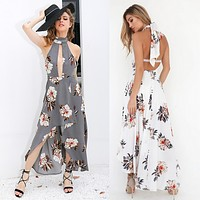 Fashion  Flower Print Hollow Halter Sleeveless Backless Irregular Split Maxi Dress