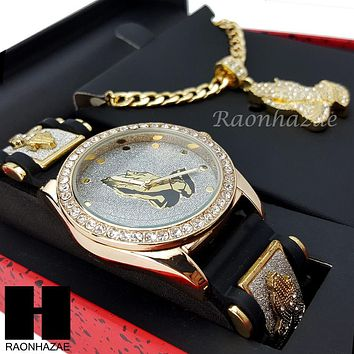 MEN ICED OUT PRAYING HANDS WATCH & PENDANT CUBAN CHAIN NECKLACE GIFT SET SS80