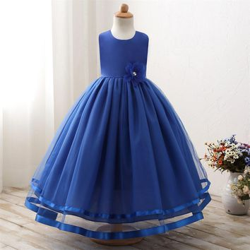 Gorgeous Formal Evening Wear Bow Flower Girl Tutu Dress Infant Children's Fancy Costume for Girls Clothes Princess Kids Dresses