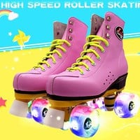 Japy Skate Roller Skates Double Line Skates With LED Lighting Wheels White Unsex Models Adult 4 Wheels Two line Roller Shoes