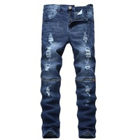 Ripped Holes Hot Sale Zippers Slim Stretch Blue Fashion Hip-hop Style Denim Jeans [454562152477]