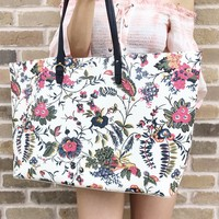 Tory Burch Kerrington Large Square Tote Garden New Ivory Gabriella Floral