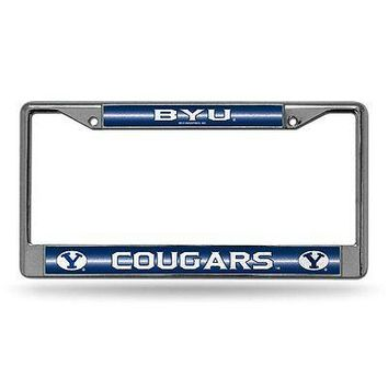 Brigham Young BYU Cougars NCAAGlitter Bling Chrome Auto License Plate Frame
