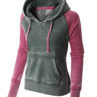PREMIUM Womens Lightweight Fleece Burnout Thermal Pullover Hoodie