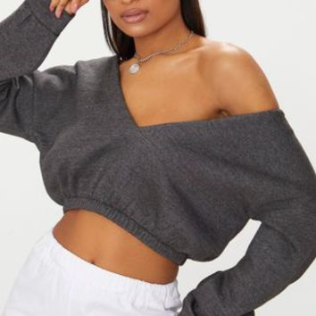 Charcoal Crop Off Shoulder Sweater