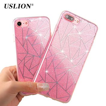 USLION Bling Glitter Case For iPhone X 8 7 6 6s Plus 5 5s SE Geometric Lines Flashing Powder Phone Cases Hard PC Back Cover