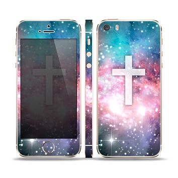 The Vector White Cross v2 over Colorful Neon Space Nebula Skin Set for the Apple iPhone 5s
