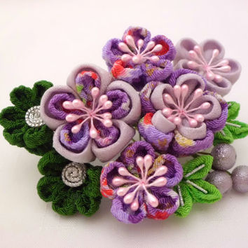 Tsumami Kanzashi Hair Comb, Pine Bamboo PURPLE and LAVENDER Plum Blossom, Bridal Hair Comb, Flower Headpiece, Fabric Flower, OOAK