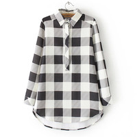 Plaid Long-Sleeve Button-Up Collared Shirt