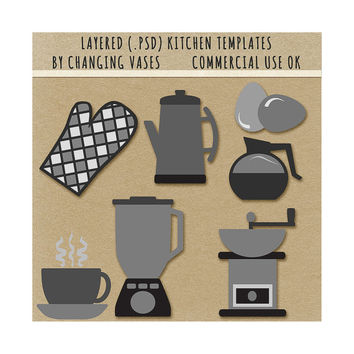 Scrapbook Element Templates, Kitchen Clipart Clip Art Graphics, Kitchen Appliances, Layered .Psd, Commercial Use Scrapbooking