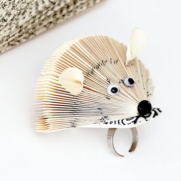 Statement Ring  Ceramic and Paper Art Ring, big ring, book sculpture ring, animal ring, hedgehog ring, Studioleanne