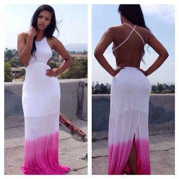 White Ombre Backless Maxi Dress