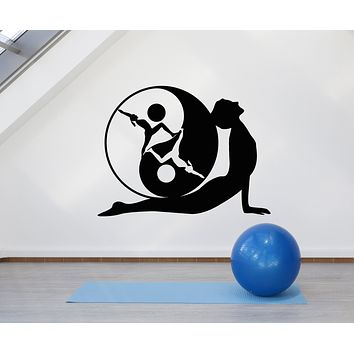 Vinyl Wall Decal Yoga Pose Yin-Yang Symbol Meditation Zen Stickers Mural (g662)