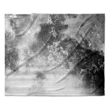 "Chelsea Victoria ""Black Ice"" Gray Black Fleece Throw Blanket"