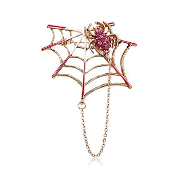 Rhinestone Black Pink Magnet Spider And Cobweb Brooch Women Men Suits Brooches Pin Size 5.4*4.6CM Halloween Decorate Accessories