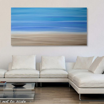Large 48 x 24 Minimalist Abstract Landscape Painting - Original Modern Canvas Acrylic Wall Art Decor - Soft Pastel Calming Blue Beige - Huge