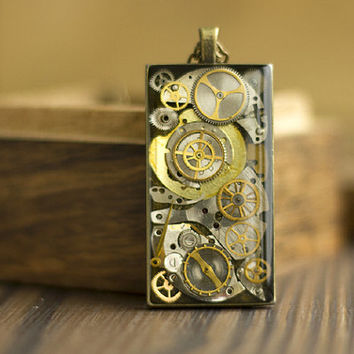 Steampunk Pendant, Old Watch Parts Necklace, Stopped Time Necklace
