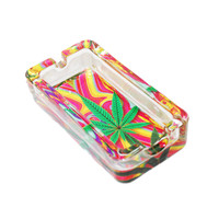 Pot Leaf Cannabis Glass Ashtray - Cannabis Leaf Trippy Colors