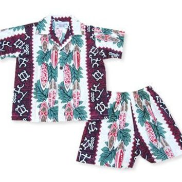 hieroglyph red hawaiian boy cabana set