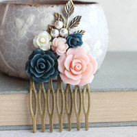 Wedding Hair Comb Pink Rose Comb Navy Blue Bridal Comb Flowers for Hair Leaf Rustic Branch Comb Wedding Hair Piece Pearl Comb