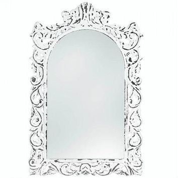 Distressed White Ornate Wood Wall Mirror