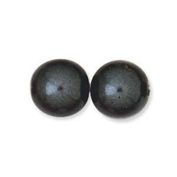 PRL08-23599 - 8mm Round Glass Pearls Black Pearl, 75 Beads   1 Strand