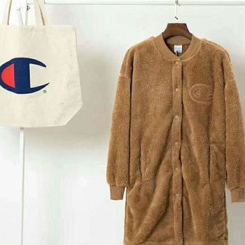 VONEGZ Champion Bust Logo Women Girl Thick Velvet Long Coat Jacket Wool Brown B-XS-FSYWZY