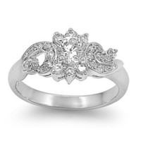 Silver Antique Style CZ Ring (5 - 9)