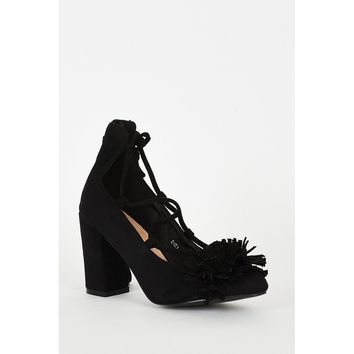 Black Lace Up Fringed Faux Suede Block Heel Shoes