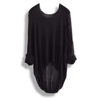 Loose Batwing Sleeve Irregular Sweater = 1920398852